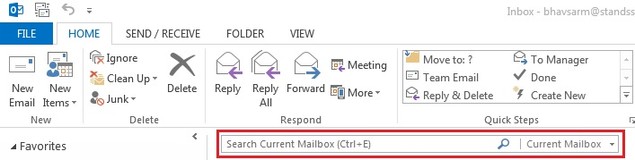 outlook search box
